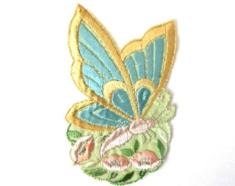 Applique, butterfly applique, 1930s vintage embroidered applique. Vintage floral patch, sewing supply.  #643GB7K2