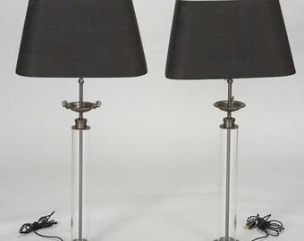 Pair Belgium Custom Glass Column Table Lamps with Bronze Tazza [1439]