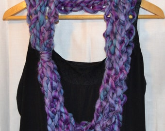 The Audrey Scarf: infinity.circle.necklace.cowl.long.extra long.warm.soft.chunky.yarn.handmade.wool.purple.blue.crochet.