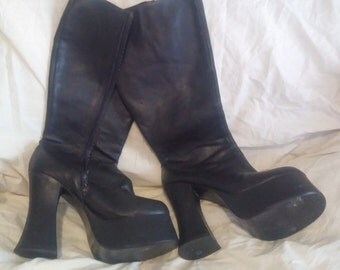 90s Goth monster platform knee high boots