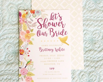 Garden Party Bridal Shower Invitation, Printable