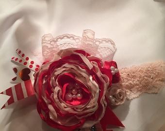 Valentine headband- lace headband - baby/toddler - valentine photo prop - bow