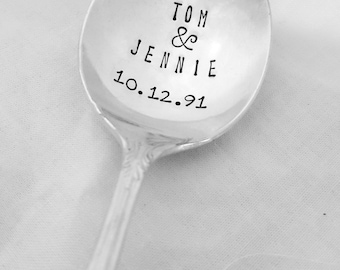 Personalized Spoon w/ First Names & Date, Wedding Spoon, Anniversary, Shower, Gift, Present, Hand Stamped Spoon, Vintage, Silverplate, Spoon