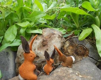 Wool felt rabbit family toys