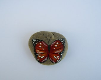 Original hand-painted stone, RED BUTTERFLY, home decor, garden decor, paperweight, rock art, acrylic