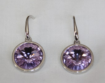 Lilac Swarovski Crystal drop earrings. purple Swarovski Crystal drop earrings. Silver earrings. Purple earrings. Dangle crystal earrings.