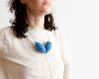 Crochet necklace. Crochet Jewelry handmade, dark blue