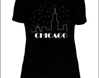 Chicago Skyline T-Shirts, Chicago Skyline Starry Night T-Shirts, Chicago T-Shirts, Chicago Rhinestone T-Shirts