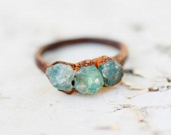 Raw Aquamarine Ring: aquamarine engagement ring, alternative engagement ring, aquamarine jewelry, raw crystal engagement ring, promise ring