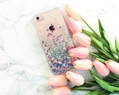 Tree Story Floating Liquid Pastel hearts Glitter transparent clear 3D  iPhone Apple
