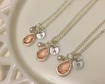 Birthstone Initial Necklace, Pearl Necklace, Bridesmaid Necklace, Personalized Birthstone Necklace, Bridesmaid Gift, Champagne Gemstone