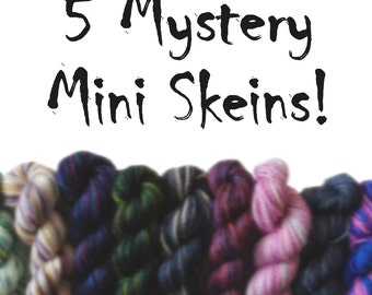 5 Mystery Mini Skeins - Fingering Weight - Sock Yarn - 50G
