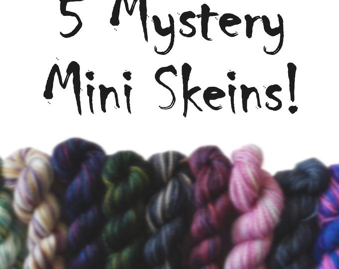 5 Mystery Mini Skeins - Fingering Weight - Sock Yarn - 50G