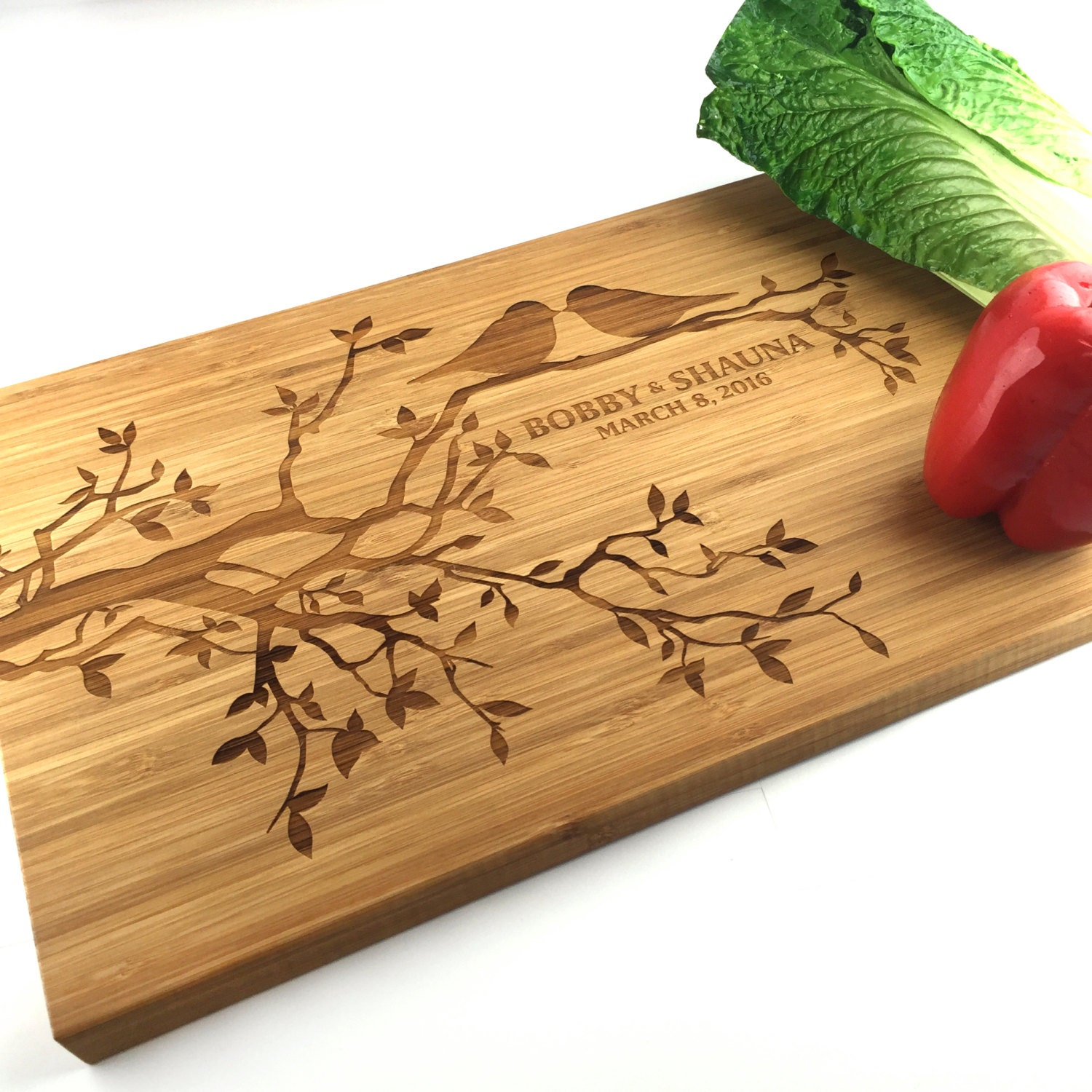 Cutting board personalized wedding gift love birds in a tree cutting board personalized wedding gift love birds in a tree branch flowers chopping block laser engraved wood board anniversary gift negle Image collections