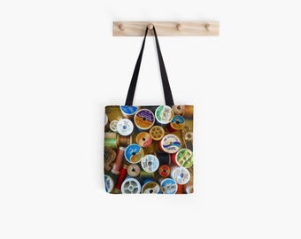 Sewing Bag, Spools Photo Tote, Quilting Gift for Her, Thread Tote Bag, Colorful Market Tote, Sewing Tote Shoulder Bag Still Life Photography
