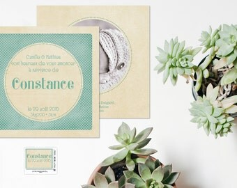 Green Vintage Classic birth announcement and stationery