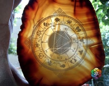 Personalized Astrology-birth-natal chart - Engraved Agate - UNIQUE