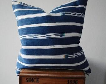 Authentic Vintage African Indigo Ikat Baule Cloth Square Pillow Cover
