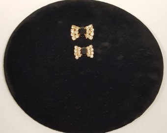 Two (2) Gorgeous Vintage Black Onyx/Rhinestone and Gold Tone Bow Tie Buttons
