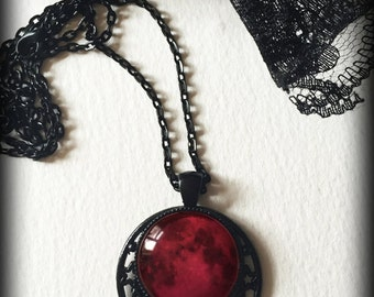 Blood Moon Necklace, Moon and Stars, Red Moon Glass Cameo Pendant, Celestial Jewelry, Gothic Wicca Witch Pagan, Alternative Jewelry Gift