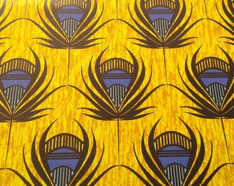 Golden Peacock Feather Wrapping Paper Sheets, Art Deco and African inspired, Egyptian, Luxe