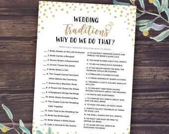 Why Do We Do That Game, Wedding Traditions Guessing Game Printable, Bridal Shower Trivia Games, Instant Download, Gold Confetti, Mason Jar