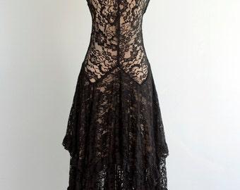 Vintage 1920's Black Lace Dress S