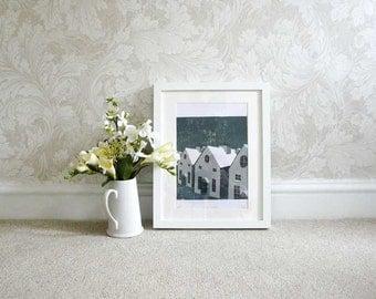 "Silent Night Reduction Lino Print 8""x11"" Home Decor, Wall Art"