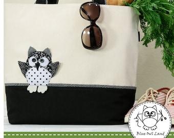 BLACK OWL TOTE Sewing Pattern. bag pattern. tote pattern. patchwork pdf. Owl Bag Sewing Pattern. pdf pattern. © Blue Owl Land