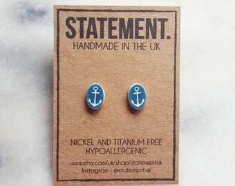 Nautical Blue Anchor Stud Earrings - 1 pair