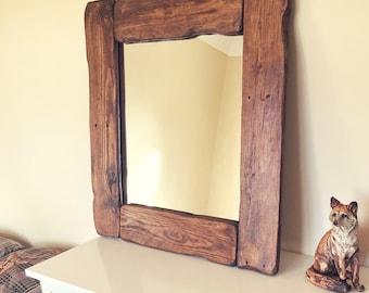 Big Wooden mirror, old vintage, thick, dark oak rustic old pallet wood, reclaimed