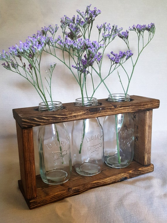 Items Similar To Rustic Wood Frame Glass Milk Bottle Mason
