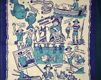 "Vintage ""Fish (y) Tales"" 1980s Tea Towel / Vintage Fishing Stories Tea Towel / The One That Got Away"