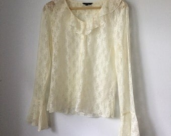 white lace ruffle bell sleeve button up blouse