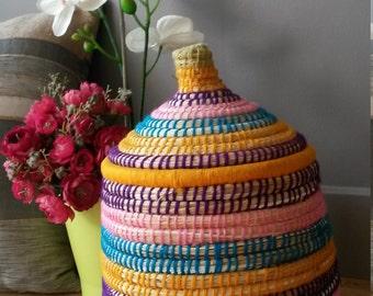 Berber woven hand - wool and raffia basket