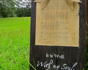 It is Well With my Soul, Hymn Wall Art, Christian Decor, Hymn Prints, Wood Sign, Hand Painted Sign