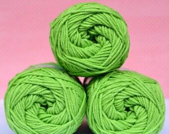 Kacenka - soft cotton/acrylic yarn for crochet and knitting, Bright green color, No. 6124, 1 ball/50 g, Producer NCT