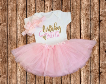 First Birthday Outfit Girl.Birthday Outfit.Pink and Gold First Birthday Outfit.Pink Gold One Bodysuit.1st Birthday.Pink Tutu.Shirt