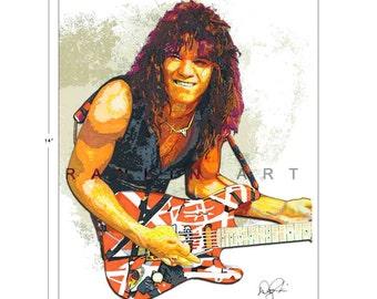 Eddie Van Halen #2, 11x14 in, 29x36 cm, Signed Art Print w/ COA