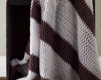 Vintage Striped Brown Afghan