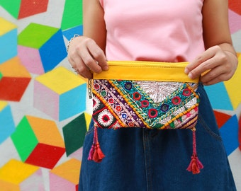 Indian Banjara Embroidery Vintage Clutch With Leather Trim