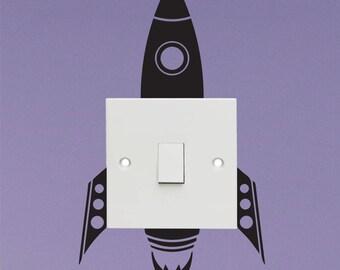 Rocket ship light switch sticker - Vinyl Decal Sticker - Kids light switch sticker decal - Spaceship