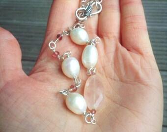 Rose Quartz Necklace, Pearl Necklace, Pink Quartz, Quartz Necklace, Gemstone Necklace, Sterling Silver Necklace, Pearl and Rose Quartz