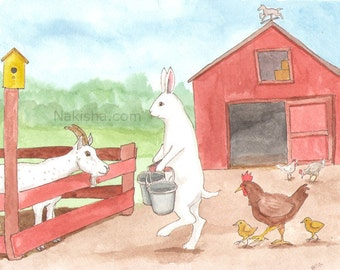 Original Art - Down on the Farm - Watercolor Rabbit Painting