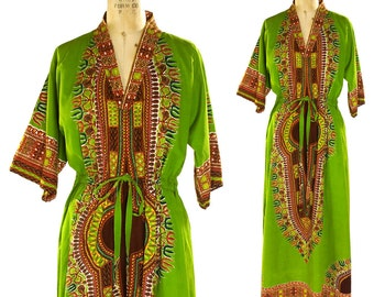 70s Dashiki Dress / Vintage 1970s Maxi Ethnic Boho Hippie Caftan / Drawstring Waist Bohemian African Indonesian Tribal Cotton Kaftan / OS