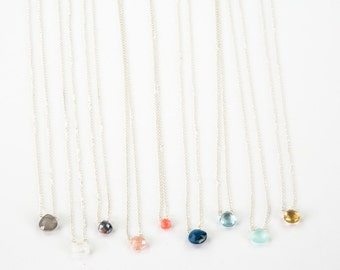 Dainty stone sterling silver necklace // bridesmaid gift // birthstone necklace // moonstone necklace // opal necklace