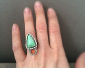 Variscite and sunstone ring  - made in your size - cocktail ring - statement ring - unique ring - boho ring