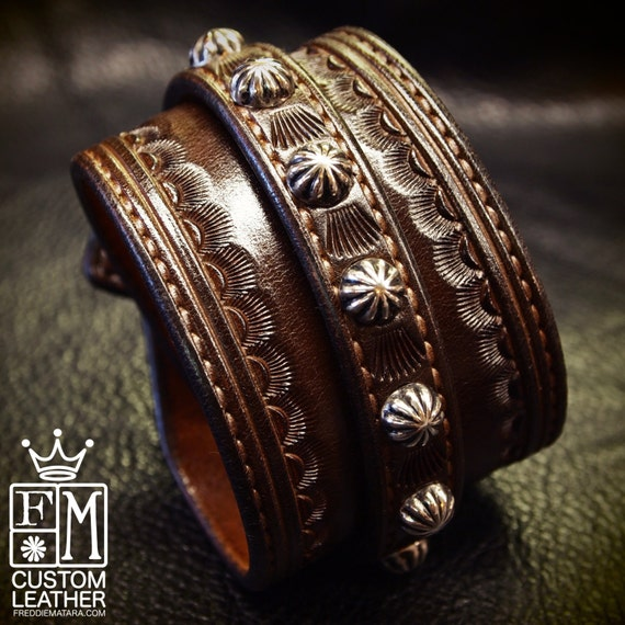 Leather Wrist Cuff Dirty BrownTraditional American Cowboy techniques ROCKSTAR Bracelet wristband Handmade for YOU in NYC by Freddie Matara!