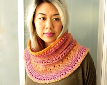 Women Wool Knit Hoodie Cowl Scarf  - Lavender and Orange Variegate Striping