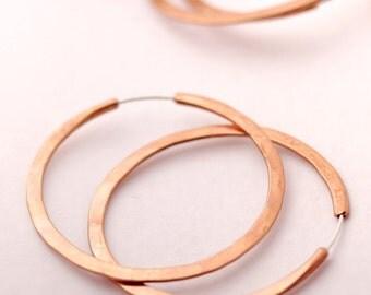 Copper Hoop Earrings - 2 inch Endless Copper Hoops - Continuous style Hoop Earrings